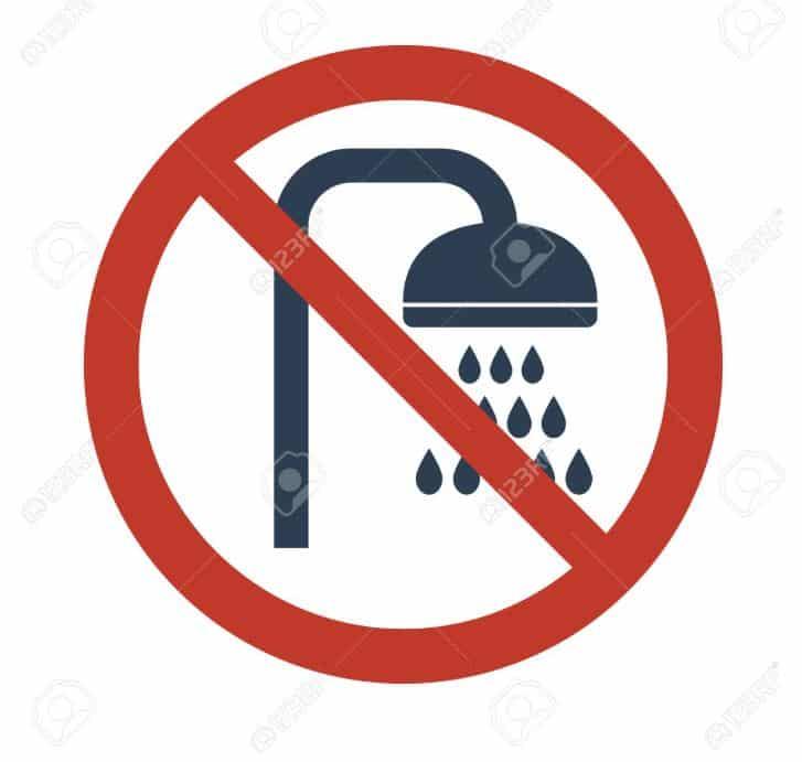 no shower sign